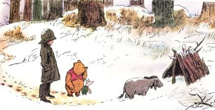 Eeyore investigating the house that Pooh and Piglet have made for him