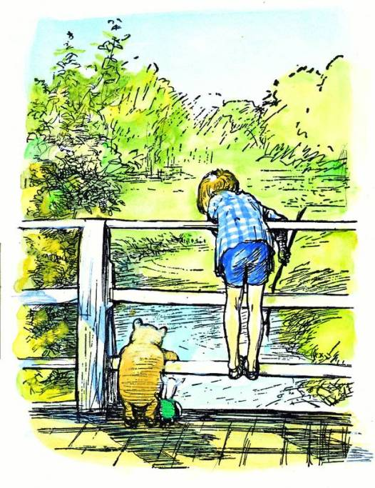 Winnie-the-Pooh and Christopher Robin at Poohsticks Bridge